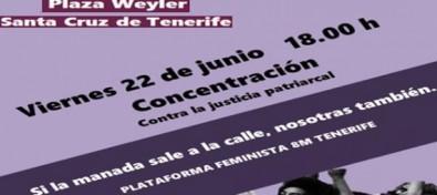 La Plataforma Feminista 8M Tenerife convoca una concentración tras la puesta en libertad de 'La Manada'