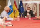 Torres y los líderes de CCOO y UGT en Canarias han abordado el reparto de los 1.144 millones de ayudas estatales