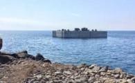 Obras Públicas y Transportes ejecuta la colocación del primer cajón de la obra de ampliación del puerto de Playa Blanca