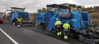 El Cabildo utiliza la técnica del reciclado del firme en la mejora de la carretera que conecta con El Médano