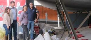 La alcaldesa de Santa Cruz de Tenerife comprueba el desarrollo de las obras de mejora urgente del pabellón Ana Bautista